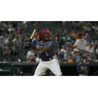 Frisco RoughRiders left fielder LeDarious Clark at the plate