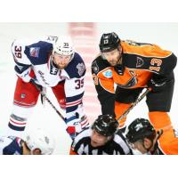 Lehigh Valley Phantoms face off with the Hartford Wolf Pack
