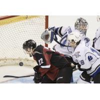 Vancouver Giants right wing Jared Dmytriw scores against the Victoria Royals