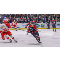 Saginaw Spirit center Ryan McLeod skates against the Soo Greyhounds