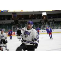 Tri-City Storm left wing Brendan Furry reacts after a goal