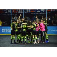 Milwaukee Wave huddle up after eliminating the Kansas City Comets