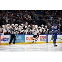 Cleveland Monsters center Justin Scott high fives the bench vs. the Syracuse Crunch