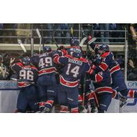 Saginaw Spirit celebrate Ryan McLeod's game-winning goal