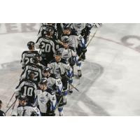 Utah Grizzlies shake hands with the Idaho Steelheads to close the season