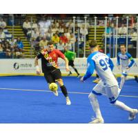 Juan Pereira of the Baltimore Blast with possession against Utica City FC