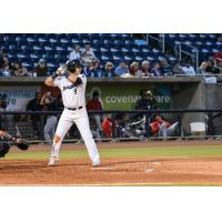 Pensacola Blue Wahoos third baseman Brian Schales at the plate