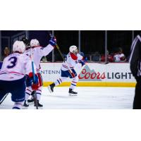 Spokane Chiefs celebrate an overtime winner against the Vancouver Giants