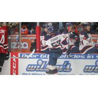 Reagan O'Grady and the Saginaw Spirit celebrate a goal