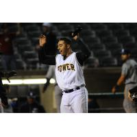 Dean Nevarez of the West Virginia Power reacts after his game-winning home run