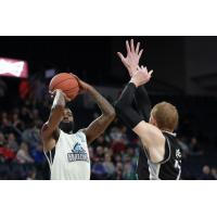 Halifax Hurricanes SG Terry Thomas takes a shot over the Moncton Magic