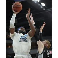 Halifax Hurricanes center Rhamel Brown shoots against the Moncton Magic
