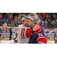 Guelph Storm goaltender Anthony Popovich and Saginaw Spirit counterpart Tristan Lennox