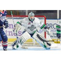 Goaltender Cole Schwebius with the Seattle Thunderbirds