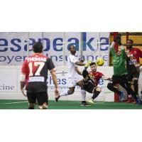 Jonatas Melo of the Baltimore Blast attempts a bicycle kick