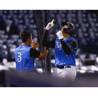 Oswaldo Cabrera and Dermis Garcia of the Tampa Tarpons