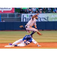 Zach Reks swipes second base in the Tulsa Drillers 9-7 loss to Corpus Christi Hooks on Saturday night