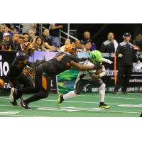 Lance McDowdell of the Arizona Rattlers makes a tackle against the Nebraska Danger
