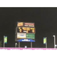 The scoreboard shows the result of North Carolina Courage's draw vs. Sky Blue FC
