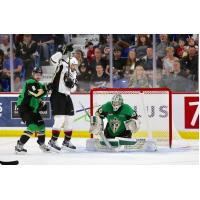 Vancouver Giants in front of the Prince Albert Raiders goal