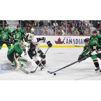 Vancouver Giants centre Dawson Holt in front of the Prince Albert Raiders goal