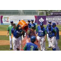Jeison Guzman gets a Gatorade shower from his Lexington Legends teammates