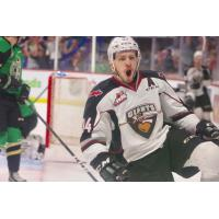 Vancouver Giants left wing Brayden Watts reacts after his goal against the Prince Albert Raiders