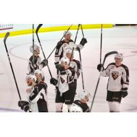Vancouver Giants salute their fans after a win in Game 5 against the Prince Albert Raiders