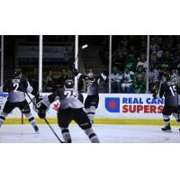 Jared Dmytriw of the Vancouver Giants celebrates his goal against the Prince Albert Raiders in Game 6