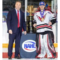 Aberdeen Wings goalie Matt Vernon is presented with the Robertson Cup Most Valuable Player Award by NAHL Commissioner Mark Frankenfeld
