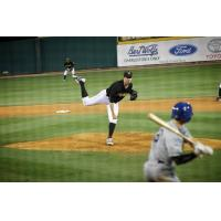 Geoff Hartlieb pitching with the West Virginia Power