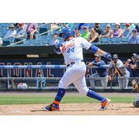 Rene Rivera of the Syracuse Mets extended his on-base streak to 17 games on Monday afternoon