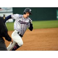 Mike Fransoso of the Somerset Patriots flies around the bases