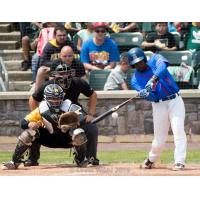 Blake Grant-Parks of the Rockland Boulders at bat against the Sussex County Miners