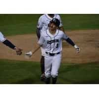Mike Fransoso of the Somerset Patriots receives congratulations after his home run