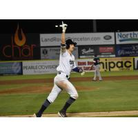 Mike Fransoso of the Somerset Patriots rounds the bases
