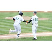 Hector Sanchez of the Long Island Ducks receives congratulations while circling the bases