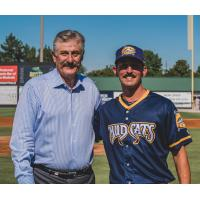 Rollie Fingers with Carolina Mudcats reliever JT Hintzen
