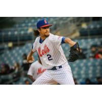 Chris Mazza of the Syracuse Mets pitched eight scoreless innings while allowing just three baserunners and striking out eight batters on Saturday night