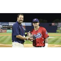 Nick Banks of the Potomac Nationals with the MVP Award