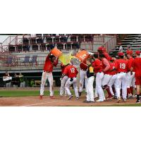 Burlington Bees give Justin Jones a Gatorade shower