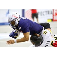 Sioux Falls Storm quarterback Lorenzo Brown dives for yardage against the Tucson Sugar Skulls