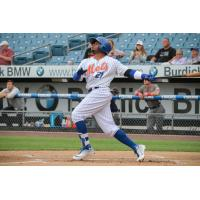 Rajai Davis of the Syracuse Mets reached base twice, including homering in his first at bat of Monday's game