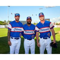 Pitchers Phillippe Aumont and Evan Rutcykj and outfielder Steve Brown of the Ottawa Champions