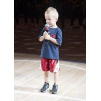4-year-old Jake Schuman sings the National Anthem at an Indiana Fever Game