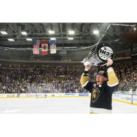 Newfoundland Growlers captain James Melindy hoists the Kelly Cup