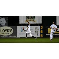 Alvaro Rubalcaba of the Burlington Bees makes a leaping catch