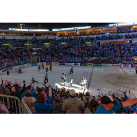 Sioux Falls Stampede celebrate a goal in front of a packed house