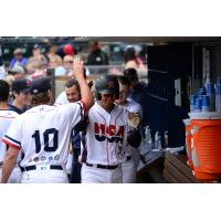 Jose Lobaton of the Tacoma Rainiers receives congratulations in the dugout