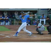 Wladimir Galindo swings away for the Myrtle Beach Pelicans